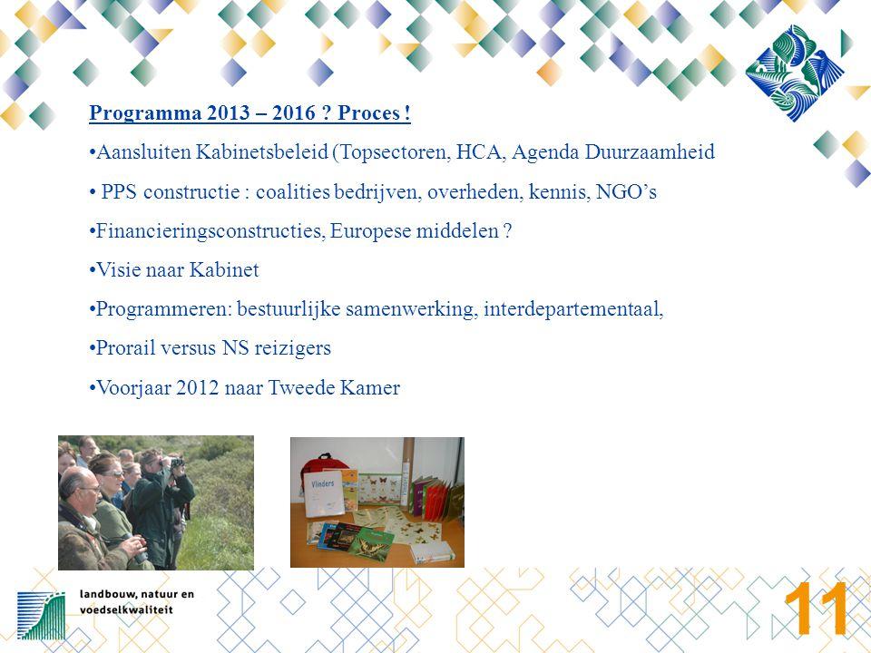 11 Programma 2013 – 2016 ? Proces ! Aansluiten Kabinetsbeleid (Topsectoren, HCA, Agenda Duurzaamheid PPS constructie : coalities bedrijven, overheden,