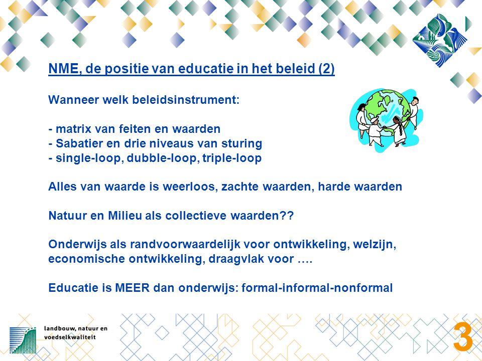 3 NME, de positie van educatie in het beleid (2) Wanneer welk beleidsinstrument: - matrix van feiten en waarden - Sabatier en drie niveaus van sturing