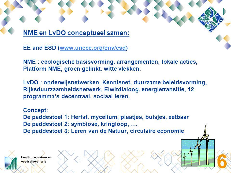 6 NME en LvDO conceptueel samen: EE and ESD (www.unece.org/env/esd) NME : ecologische basisvorming, arrangementen, lokale acties, Platform NME, groen