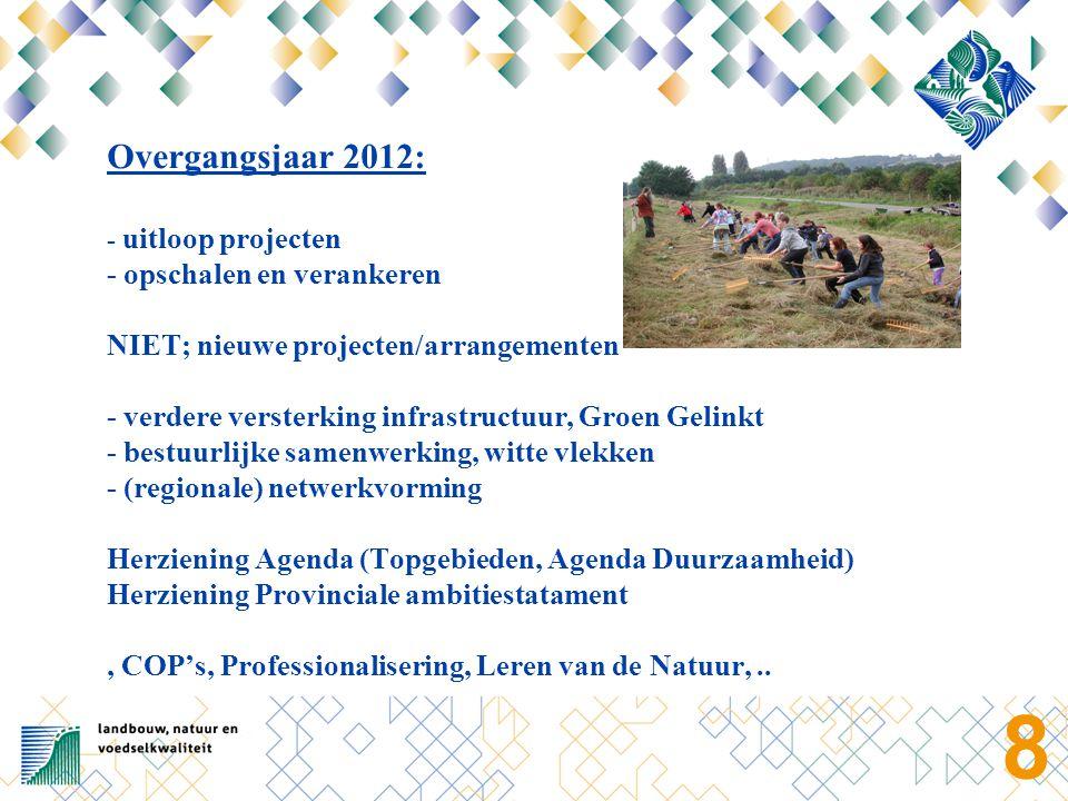 8 Overgangsjaar 2012: - uitloop projecten - opschalen en verankeren NIET; nieuwe projecten/arrangementen - verdere versterking infrastructuur, Groen G