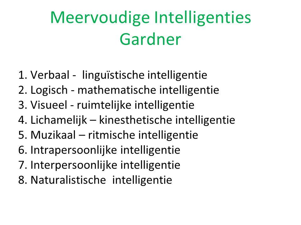 Meervoudige Intelligenties Gardner 1. Verbaal - linguïstische intelligentie 2. Logisch - mathematische intelligentie 3. Visueel - ruimtelijke intellig