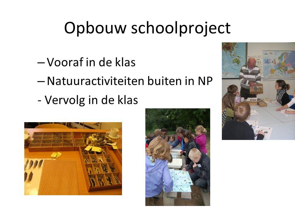 Opbouw schoolproject – Vooraf in de klas – Natuuractiviteiten buiten in NP - Vervolg in de klas