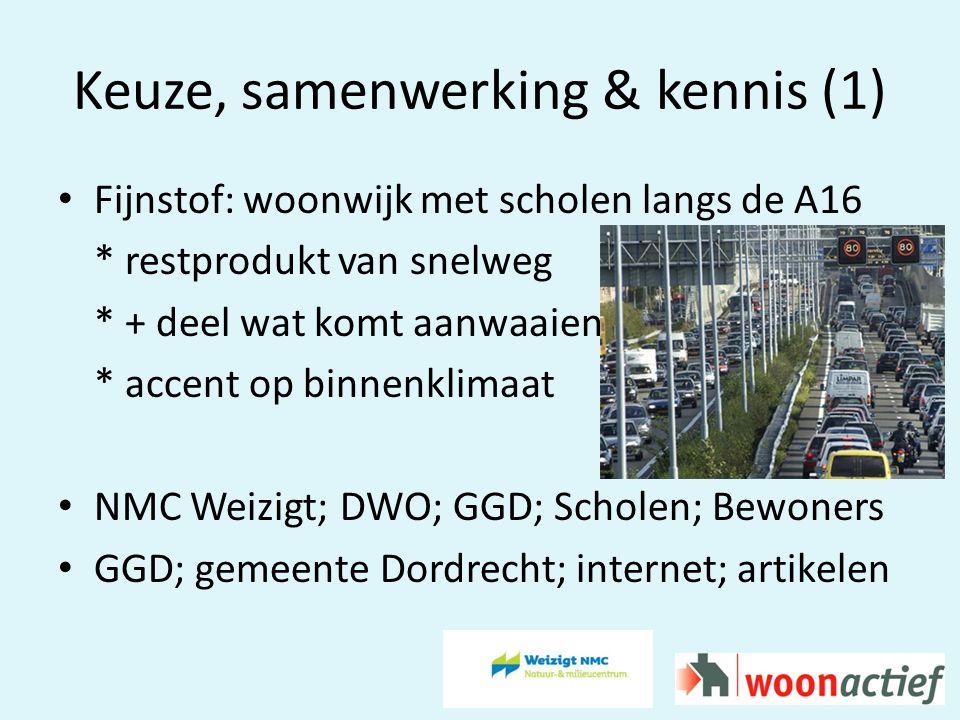 Keuze, samenwerking & kennis (1) Fijnstof: woonwijk met scholen langs de A16 * restprodukt van snelweg * + deel wat komt aanwaaien * accent op binnenklimaat NMC Weizigt; DWO; GGD; Scholen; Bewoners GGD; gemeente Dordrecht; internet; artikelen