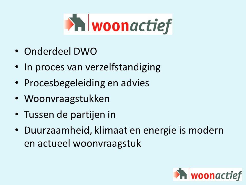 Onderdeel DWO In proces van verzelfstandiging Procesbegeleiding en advies Woonvraagstukken Tussen de partijen in Duurzaamheid, klimaat en energie is modern en actueel woonvraagstuk