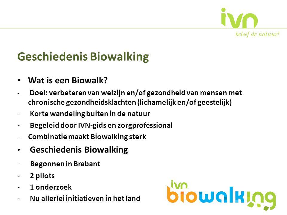 Wat is een Biowalk? - Doel: verbeteren van welzijn en/of gezondheid van mensen met chronische gezondheidsklachten (lichamelijk en/of geestelijk) - Kor
