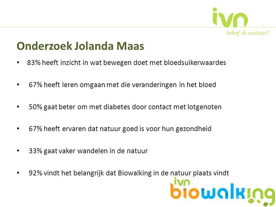83% heeft inzicht in wat bewegen doet met bloedsuikerwaardes 67% heeft leren omgaan met die veranderingen in het bloed 50% gaat beter om met diabetes door contact met lotgenoten 67% heeft ervaren dat natuur goed is voor hun gezondheid 33% gaat vaker wandelen in de natuur 92% vindt het belangrijk dat Biowalking in de natuur plaats vindt Onderzoek Jolanda Maas