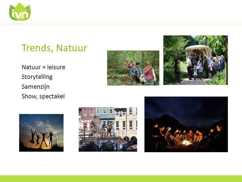 Trends, Natuur Natuur = leisure Storytelling Samenzijn Show, spectakel