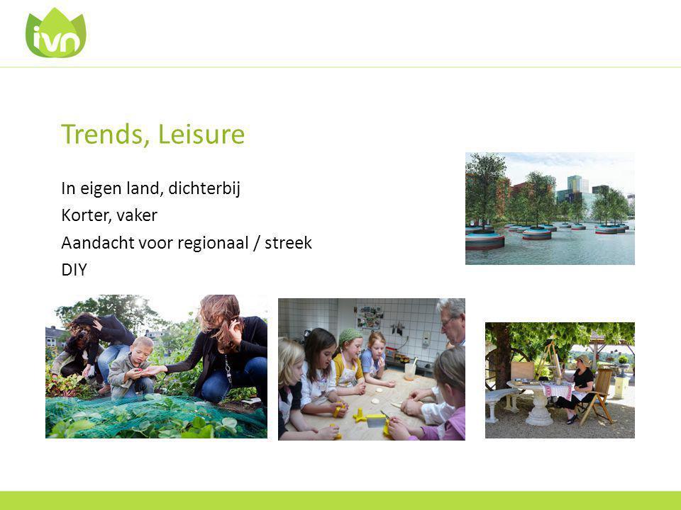 Trends, Leisure In eigen land, dichterbij Korter, vaker Aandacht voor regionaal / streek DIY
