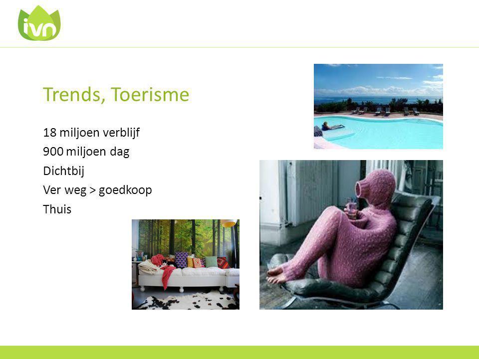 Trends, Toerisme 18 miljoen verblijf 900 miljoen dag Dichtbij Ver weg > goedkoop Thuis