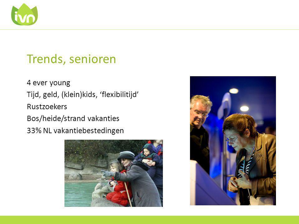 Trends, senioren 4 ever young Tijd, geld, (klein)kids, 'flexibilitijd' Rustzoekers Bos/heide/strand vakanties 33% NL vakantiebestedingen