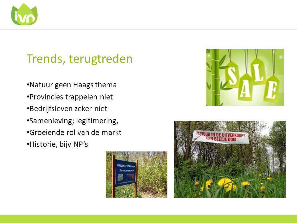 Trends, terugtreden Natuur geen Haags thema Provincies trappelen niet Bedrijfsleven zeker niet Samenleving; legitimering, Groeiende rol van de markt Historie, bijv NP's