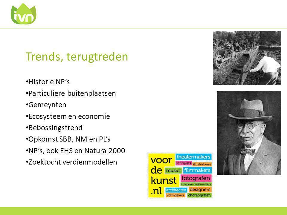 Trends, terugtreden Historie NP's Particuliere buitenplaatsen Gemeynten Ecosysteem en economie Bebossingstrend Opkomst SBB, NM en PL's NP's, ook EHS en Natura 2000 Zoektocht verdienmodellen