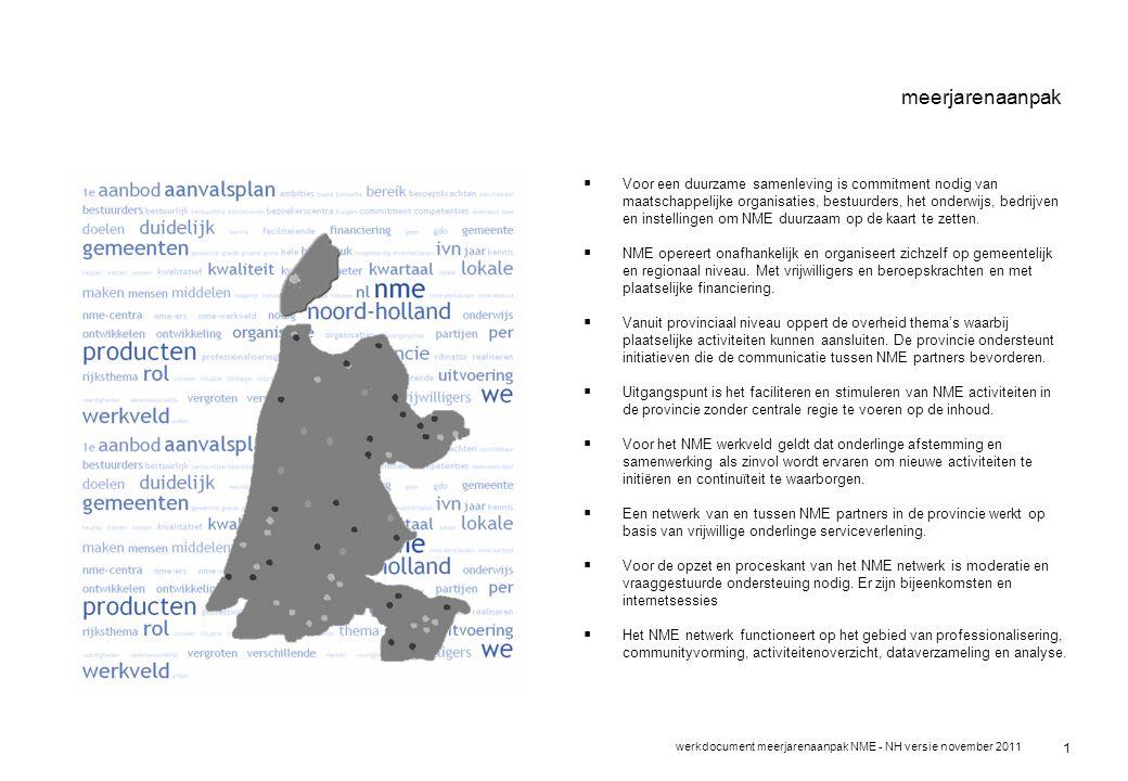 werkdocument meerjarenaanpak NME - NH versie november 2011 1 meerjarenaanpak  Voor een duurzame samenleving is commitment nodig van maatschappelijke organisaties, bestuurders, het onderwijs, bedrijven en instellingen om NME duurzaam op de kaart te zetten.