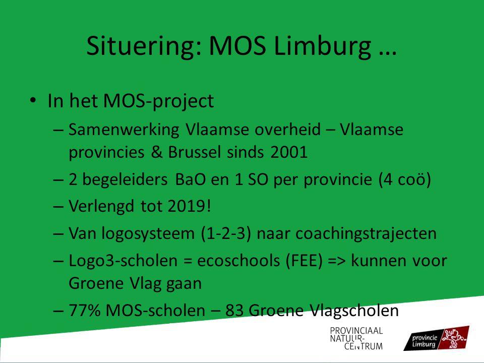 Situering: MOS Limburg … In het MOS-project – Samenwerking Vlaamse overheid – Vlaamse provincies & Brussel sinds 2001 – 2 begeleiders BaO en 1 SO per