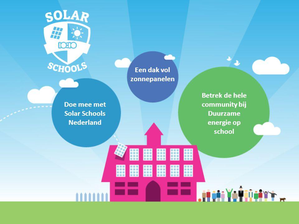 Een dak vol zonnepanelen Betrek de hele community bij Duurzame energie op school Doe mee met Solar Schools Nederland
