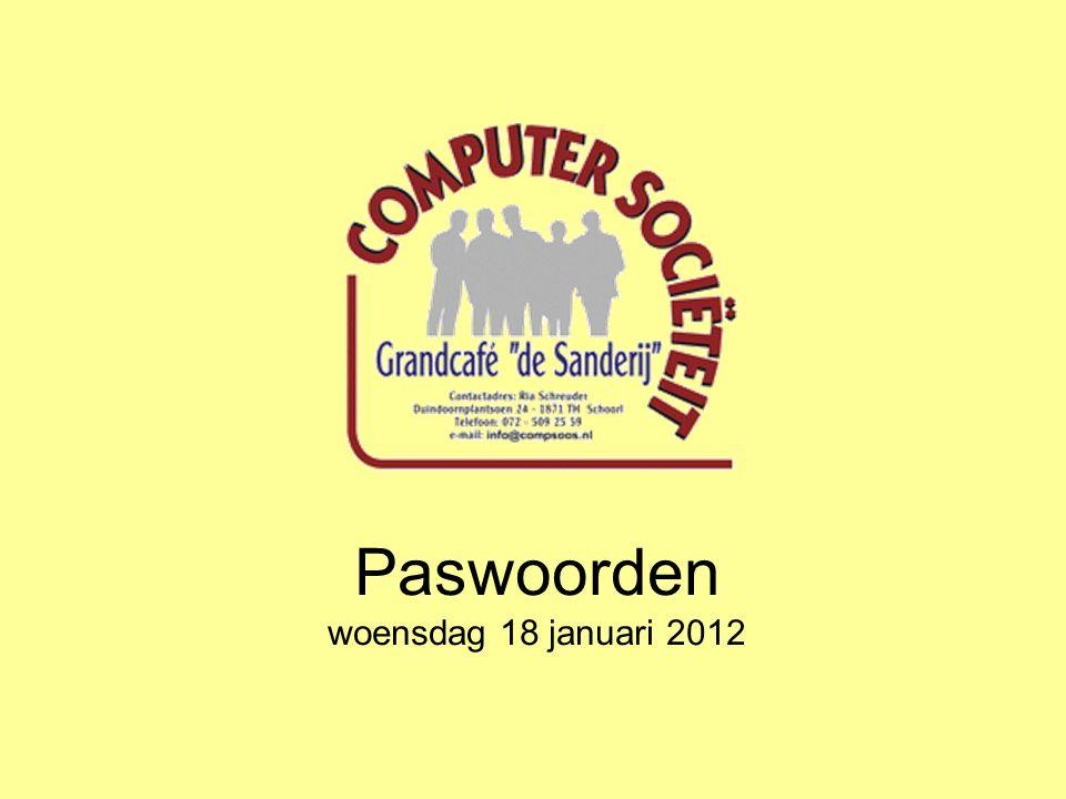 Paswoorden woensdag 18 januari 2012