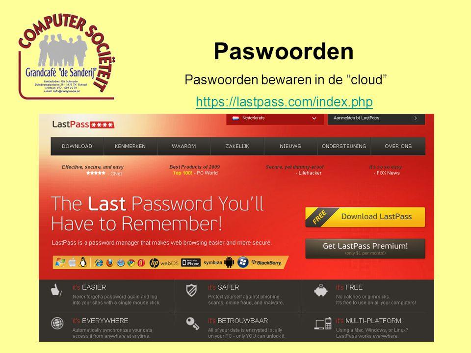 """Paswoorden Paswoorden bewaren in de """"cloud"""" https://lastpass.com/index.php"""