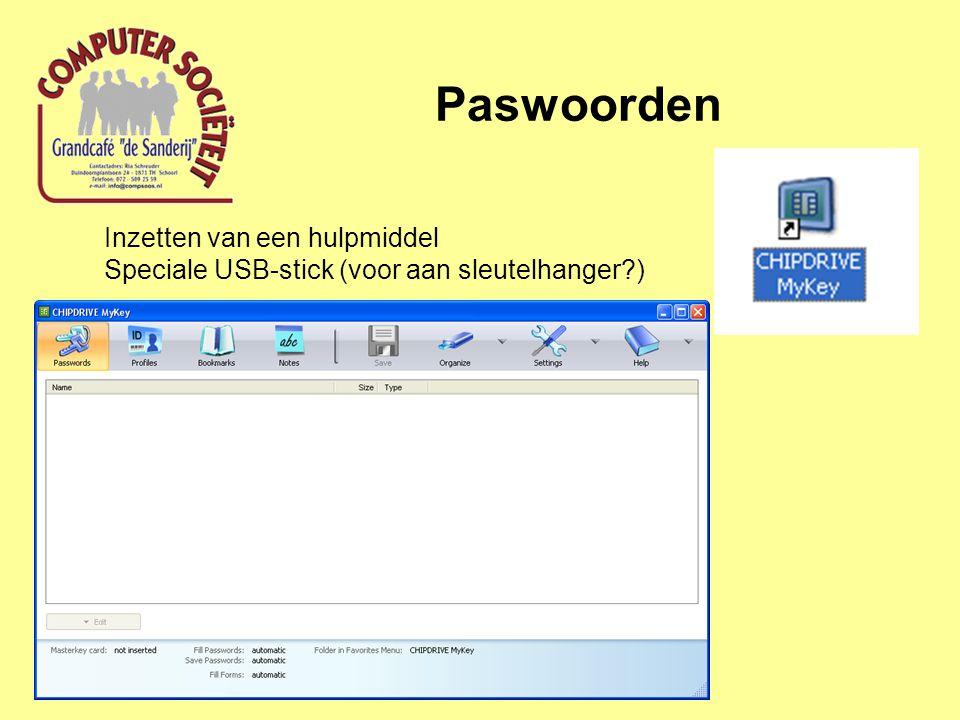 Paswoorden Inzetten van een hulpmiddel Speciale USB-stick (voor aan sleutelhanger?)