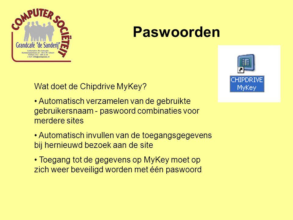 Paswoorden Wat doet de Chipdrive MyKey? Automatisch verzamelen van de gebruikte gebruikersnaam - paswoord combinaties voor merdere sites Automatisch i