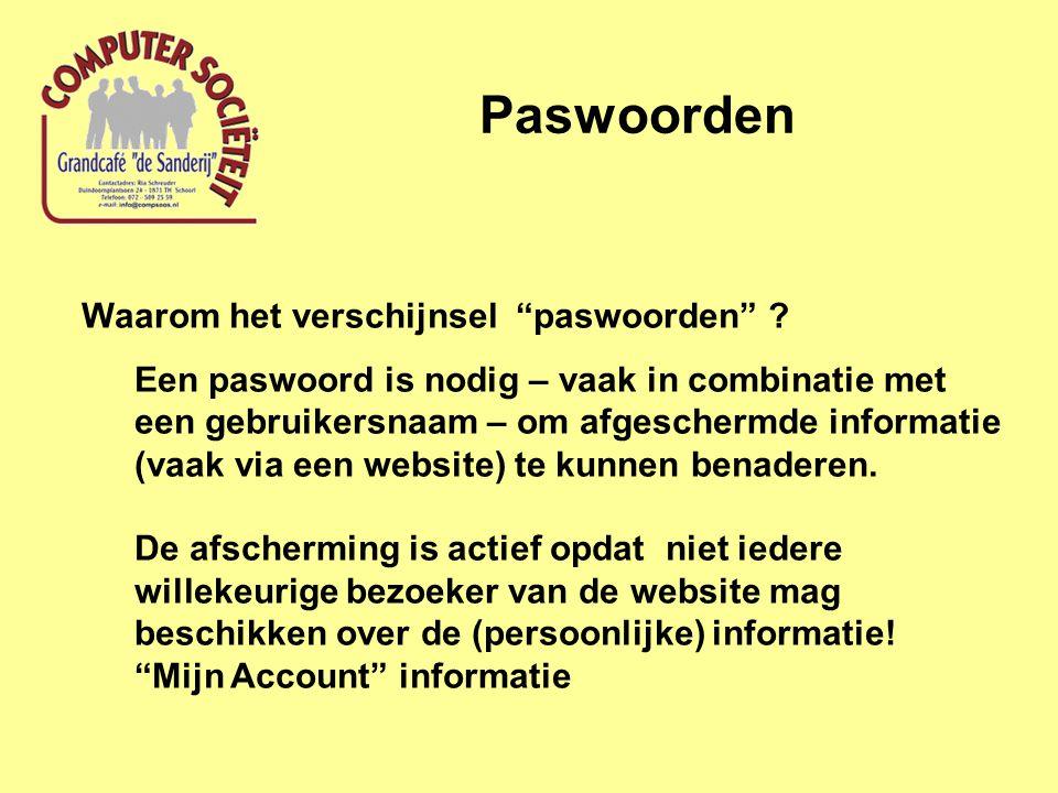 """Paswoorden Waarom het verschijnsel """"paswoorden"""" ? Een paswoord is nodig – vaak in combinatie met een gebruikersnaam – om afgeschermde informatie (vaak"""