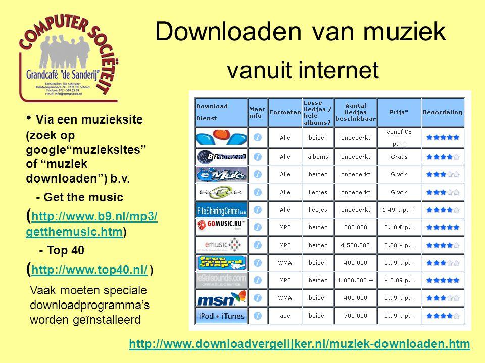 Downloaden van muziek vanuit internet Via andere internetgebruikers Deze gebruikers stellen hun muziekbestanden via internet ter beschikking om te laten kopiëren Limewire http://www.limewire.nl/ http://www.limewire.nl/ iMesh http://www.imesh.com/downloadmusic/?appid=292&gclid=CPfVoYW NwacCFcI63godOkePAA http://www.imesh.com/downloadmusic/?appid=292&gclid=CPfVoYW NwacCFcI63godOkePAA Vaak moeten speciale programma's daarvoor worden geïnstalleerd Er is discussie over de legaliteit van deze manier van muziek verspreiden