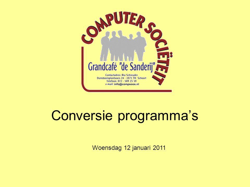 Conversie programma's Woensdag 12 januari 2011