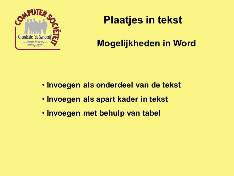 Mogelijkheden in Word Plaatjes in tekst Invoegen als onderdeel van de tekst Invoegen als apart kader in tekst Invoegen met behulp van tabel