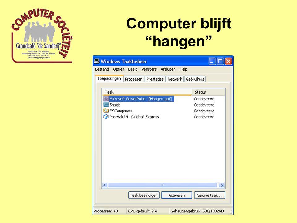 Computer blijft hangen
