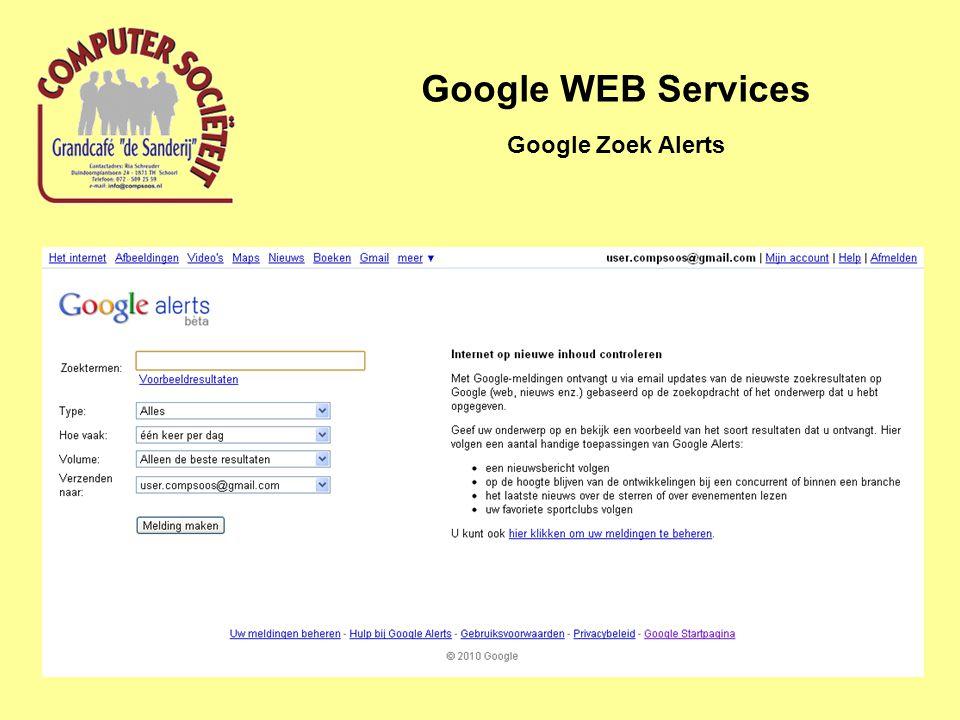 Google WEB Services Google Zoek Alerts