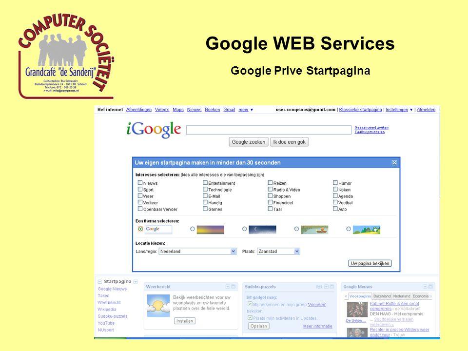 Google WEB Services Google Prive Startpagina