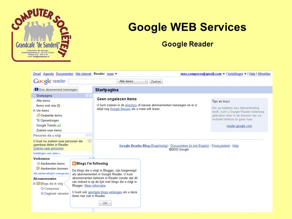 Google WEB Services Google Reader