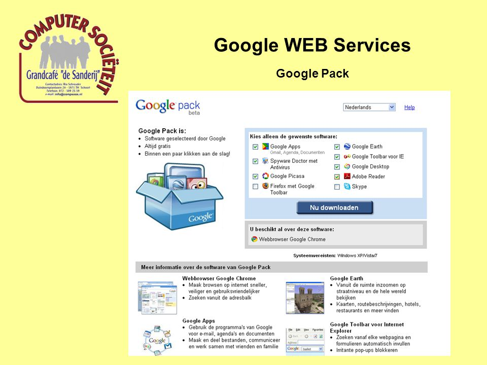 Google WEB Services Google Pack