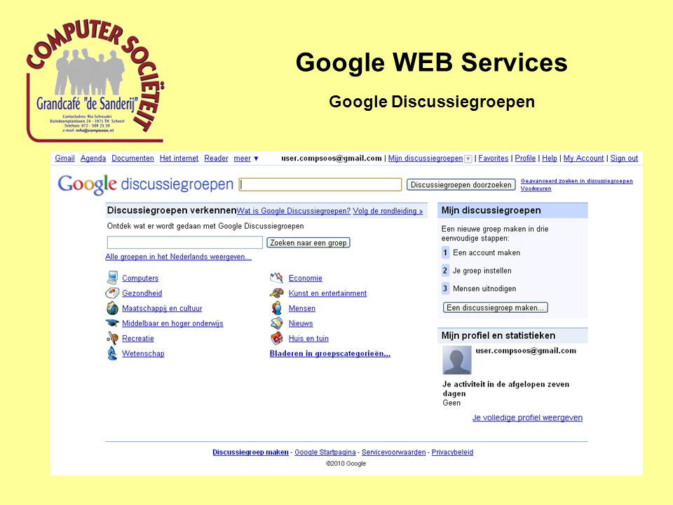 Google WEB Services Google Discussiegroepen