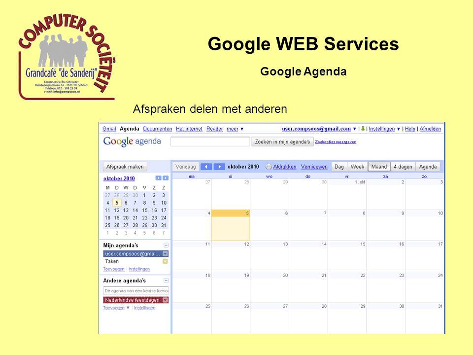 Google WEB Services Google Agenda Afspraken delen met anderen