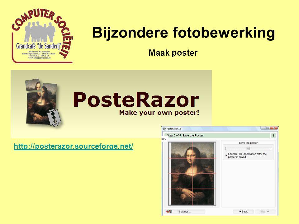 Bijzondere fotobewerking Maak poster http://posterazor.sourceforge.net/