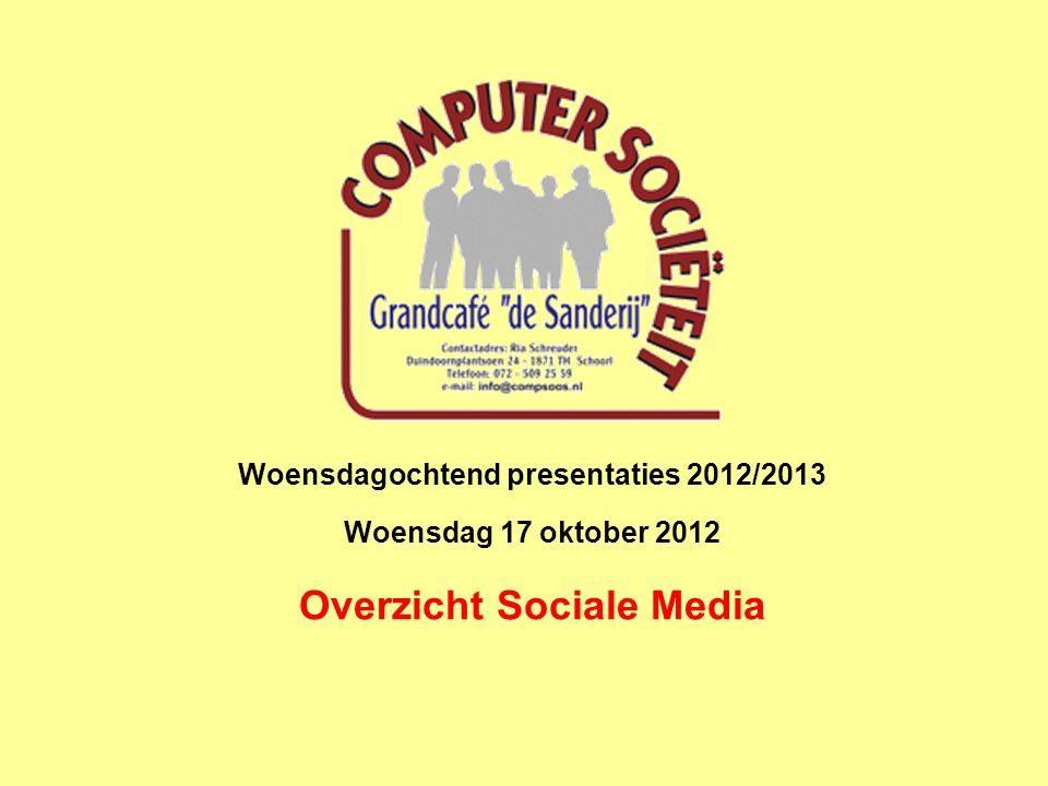 Woensdagochtend presentaties 2012/2013 Woensdag 17 oktober 2012 Overzicht Sociale Media