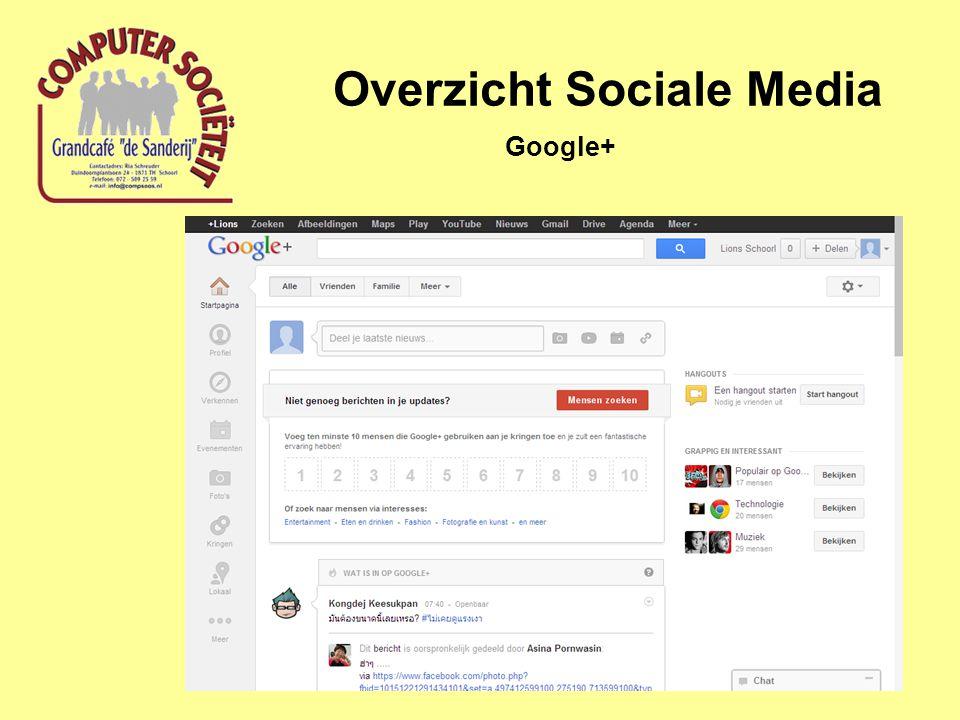 Overzicht Sociale Media Google+