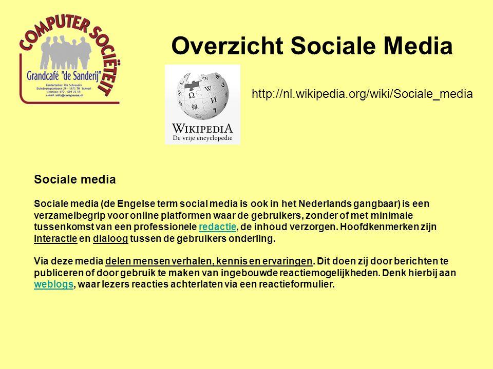 Sociale media Sociale media (de Engelse term social media is ook in het Nederlands gangbaar) is een verzamelbegrip voor online platformen waar de gebr