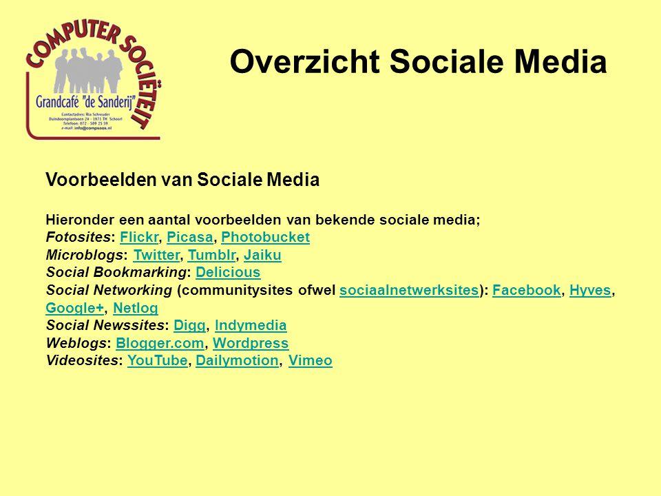 Overzicht Sociale Media Voorbeelden van Sociale Media Hieronder een aantal voorbeelden van bekende sociale media; Fotosites: Flickr, Picasa, Photobuck