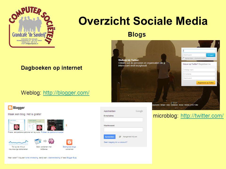 Overzicht Sociale Media Blogs microblog: http://twitter.com/http://twitter.com/ Weblog: http://blogger.com/http://blogger.com/ Dagboeken op internet