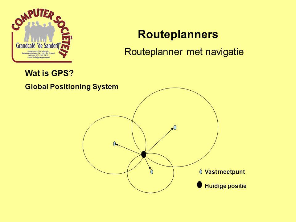 Routeplanners Routeplanner met navigatie Wat is GPS? Global Positioning System Vast meetpunt Huidige positie