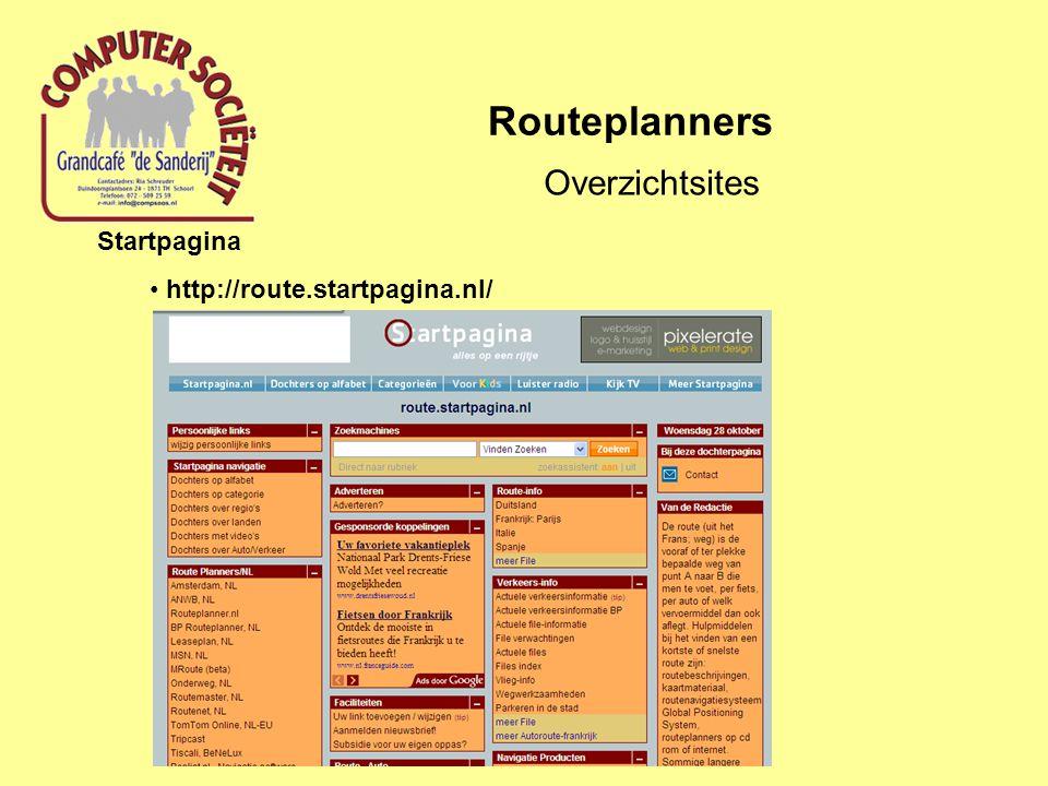Routeplanners Overzichtsites Startkabel http://routeplanners.startkabel.nl/