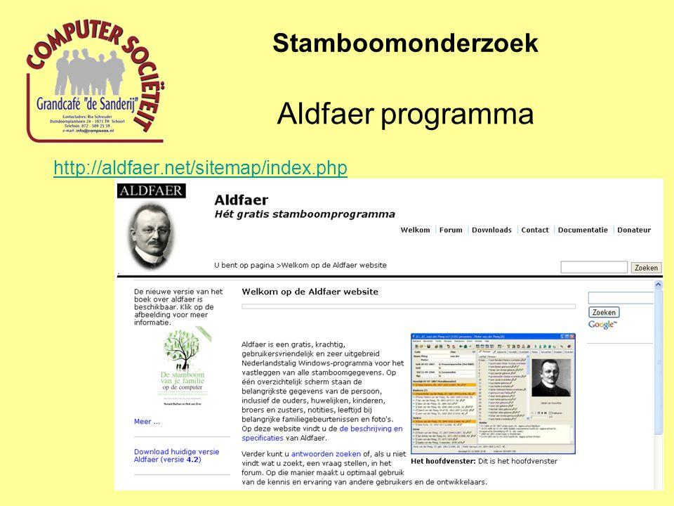 http://aldfaer.net/sitemap/index.php Stamboomonderzoek Aldfaer programma