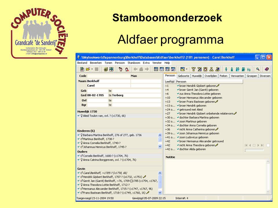 Stamboomonderzoek Aldfaer programma