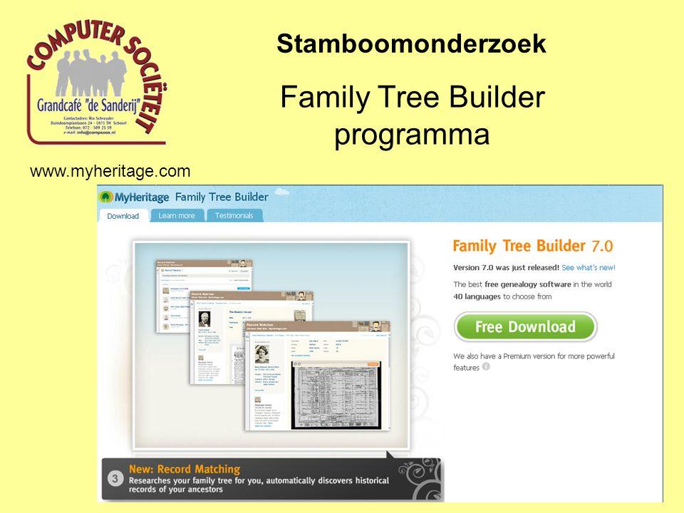 Family Tree Builder programma Stamboomonderzoek www.myheritage.com