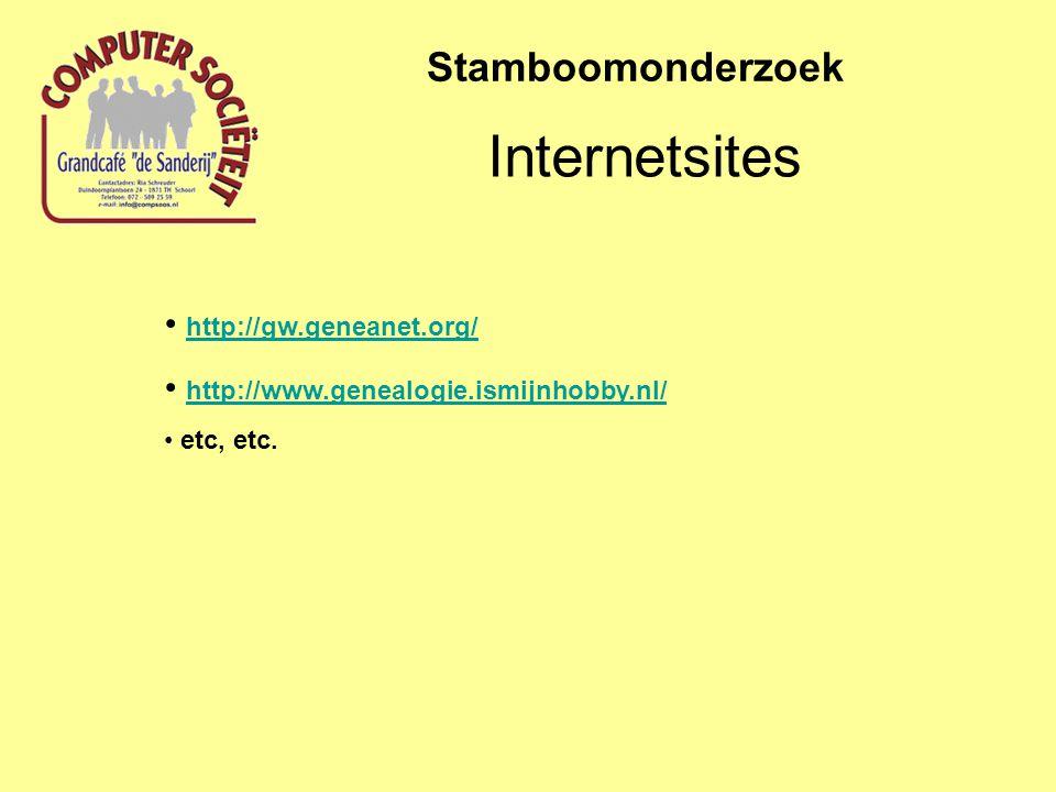 Internetsites Stamboomonderzoek http://gw.geneanet.org/ http://www.genealogie.ismijnhobby.nl/ etc, etc.