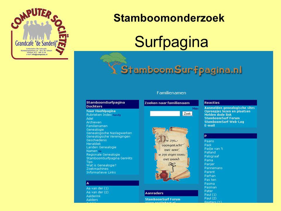 Startpagina Stamboomonderzoek