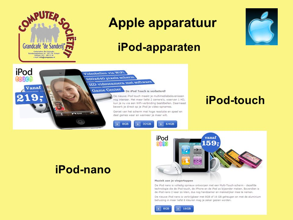 iPod-apparaten Apple apparatuur iPod-shuffle iPod-classic