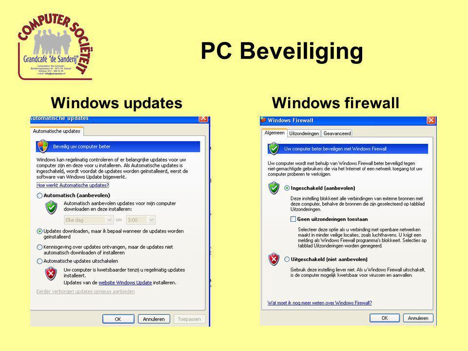 PC Beveiliging Windows firewallWindows updates