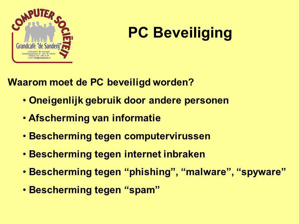 PC Beveiliging Waarom moet de PC beveiligd worden.